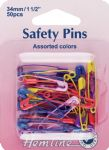 H414.AC Safety Pins: 34mm - Assorted Colours - 50pcs